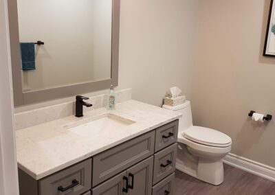 Photograph of finished basement bathroom project